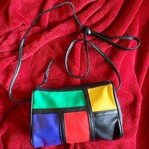 Handbags - Vintage 80s Jewel Tone Accent Shoulder Bag